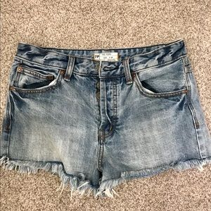 Free People distressed fringed shorts